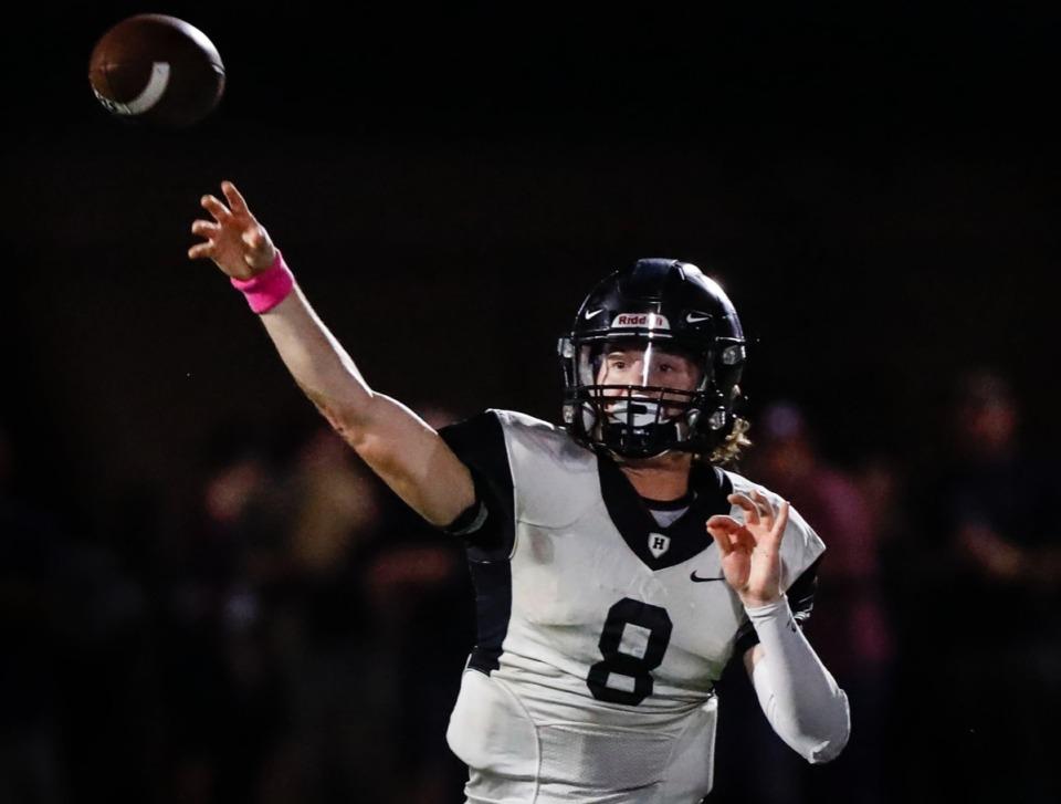 <strong>Houston quarterback Ethan Burns makes a pass against Collierville Oct. 10.</strong> (Mark Weber/Daily Memphian)