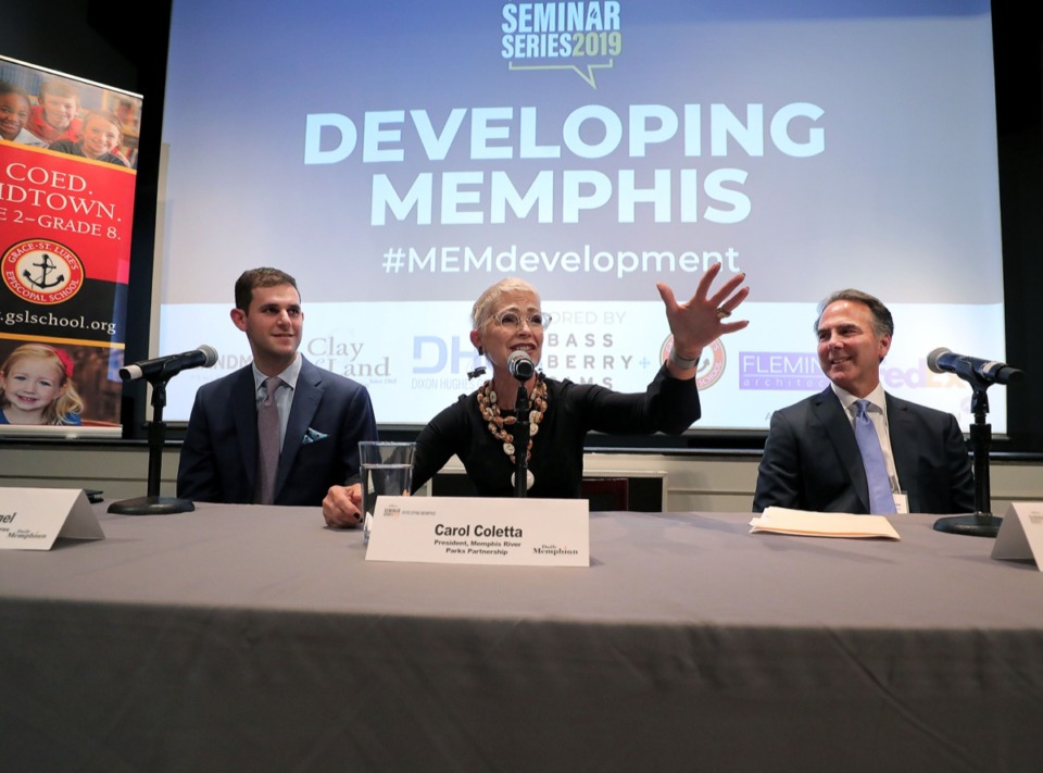 "<strong>Panelists (from left) Benjamin Orgel, Carol Coletta and Gary Prosterman speak at the Daily Memphian's ""Developing Memphis"" seminar at the Memphis Brooks Museum of Art Oct. 10.</strong> (Patrick Lantrip/Daily Memphian)"