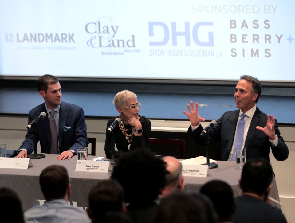 "<strong>Panelists (from left) Benjamin Orgel, Carol Coletta and Gary Prosterman address the audience at the ""Developing Memphis"" seminar Oct. 10.</strong> (Patrick Lantrip/Daily Memphian)"