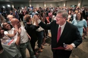 <strong>Memphis Mayor Jim Strickland celebrates with supporters during an election night party at the Memphis Botanic Gardens on Oct. 3, 2019 after decisively winning a second term.</strong> (Jim Weber/Daily Memphian)
