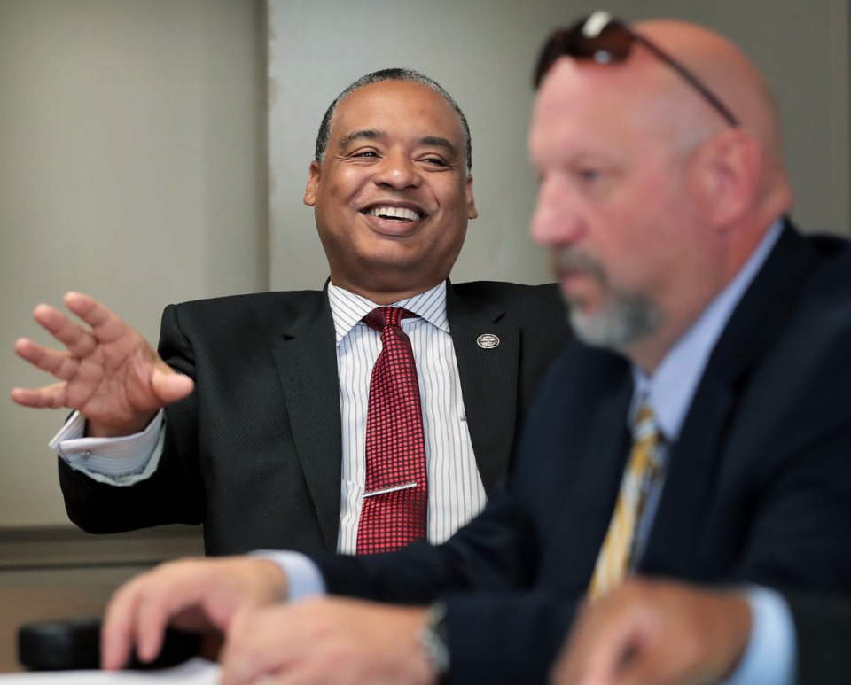 <strong>Division Director Anthony Alexander (left) and Deputy Director Bailey Waits talk about the conservation program at the Shelby County Correctional Center, which has been recognized as a model for green prisons in Tennessee.&nbsp;</strong> (Jim Weber/Daily Memphian)
