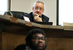 <strong>Lakeland Mayor Mike Cunningham, pictured during a May 2019 Board of Commissioners meeting, said in an Oct. 11 meeting he supports a moratorium on multifamily development in favor of more commercial elements.</strong> (Jim Weber/Daily Memphian)