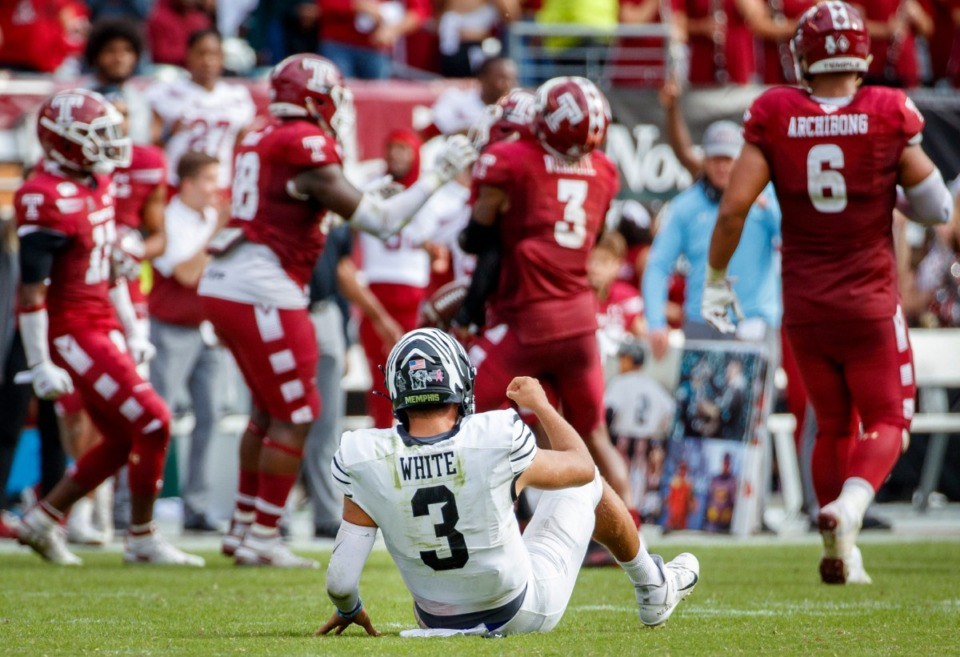 <strong>Memphis quarterback Brady White (3) looks on from the field after fumbling and losing the ball during the second half of an NCAA college football game against Temple on Saturday, Oct. 12, 2019, in Philadelphia. Temple won 30-28.</strong> (AP Photo/Chris Szagola)