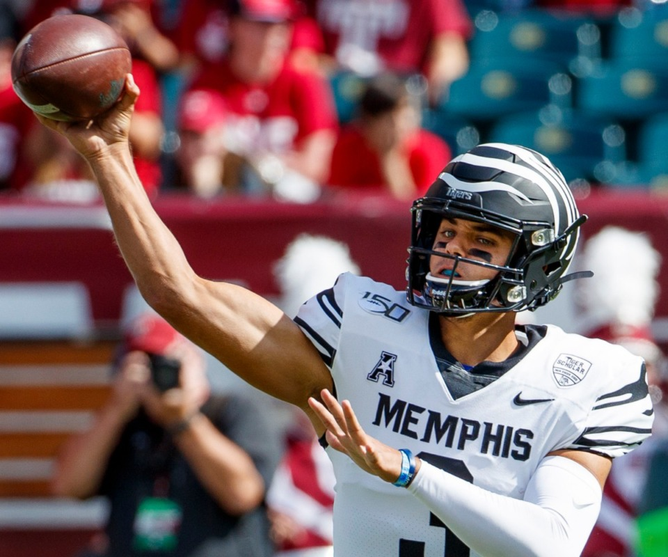 <strong>Memphis quarterback Brady White (3) throws a pass during an NCAA college football game against Temple on Saturday, Oct. 12, 2019, in Philadelphia.</strong> (AP Photo/Chris Szagola)