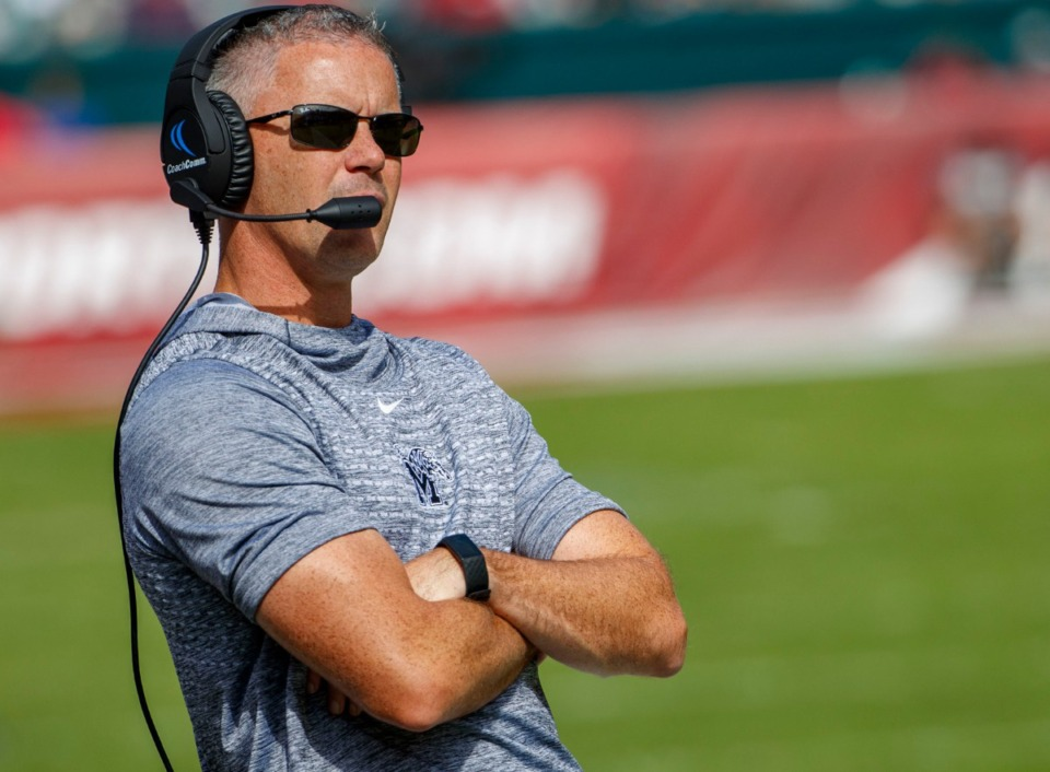 <strong>Memphis head coach Mike Norvell looks on during an NCAA college football game against Temple on Saturday, Oct. 12, 2019, in Philadelphia.</strong> (AP Photo/Chris Szagola)