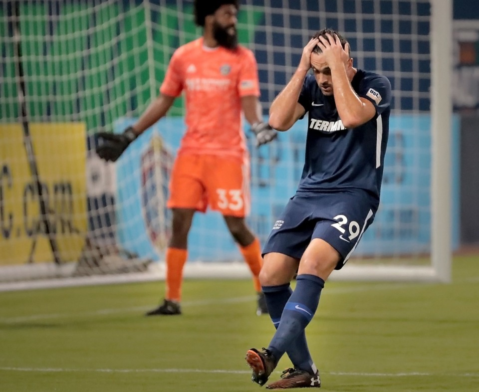<strong>Memphis forward Brandon Allen (29) reacts after a missed shot against Charlotte during 901FC's 1-2 loss to the Charlotte Independence SC at AutoZone Park on Oct. 12, 2019.</strong> (Jim Weber/Daily Memphian)
