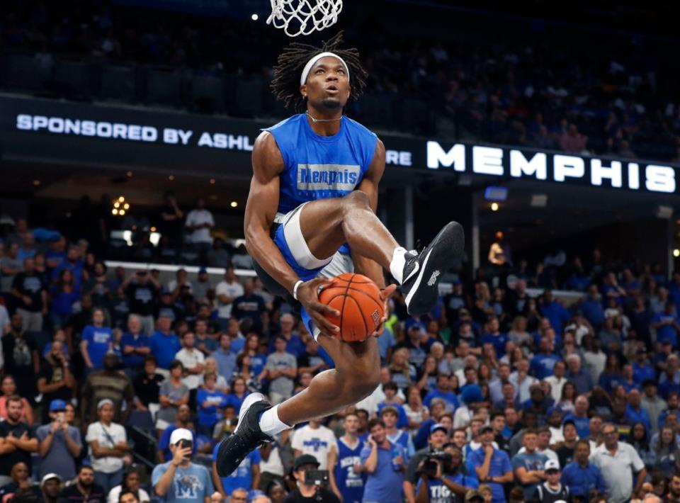 <strong>Memphis Tiger Precious Achiuwa attempts a dunk during Memphis Madness at FedExForum Thursday, Oct. 3.</strong> (Mark Weber/Daily Memphian)