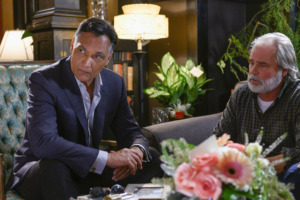 """<strong>Elijah Strait (Jimmy Smits, left), seen here with Hank Webster (Clayton Rohner), uses some Z-Bo language on this week's """"Bluff City Law.""""</strong> (Katherine Bomboy/NBC)"""