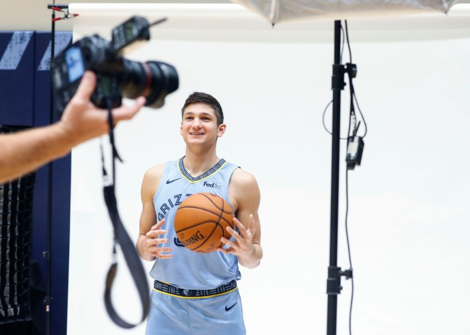 <strong>Grayson Allen, seen here on the Grizzlies media day Sept. 30, is probably a sure thing for the opening night rotation.</strong> (Mark Weber/Daily Memphian)