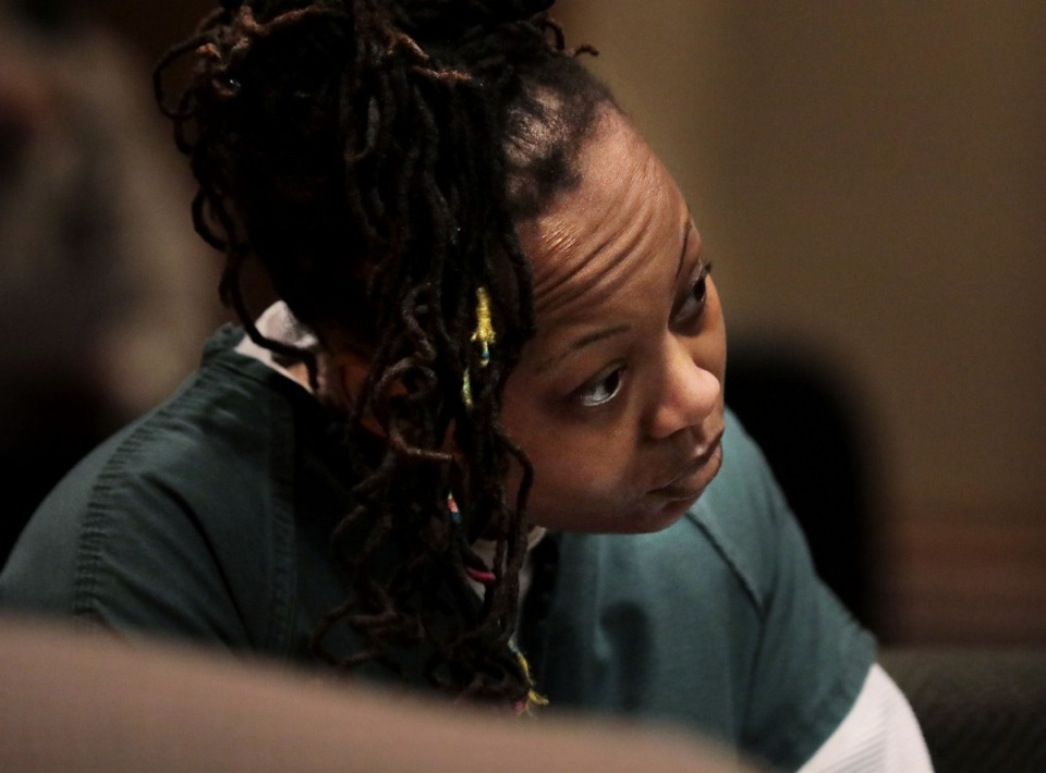 <strong>Latoshia Daniels, who is accused of killing a Mississippi Boulevard pastor in April, briefly appeared in court Wednesday for her arraignment.</strong> (Patrick Lantrip/Daily Memphian)