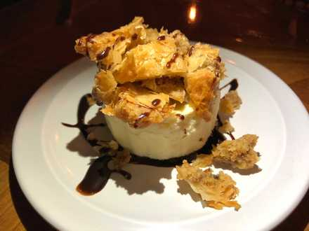 <strong>Cheesecake is topped with baklava for a decadent dessert. </strong>(Jennifer Biggs/Daily Memphian)