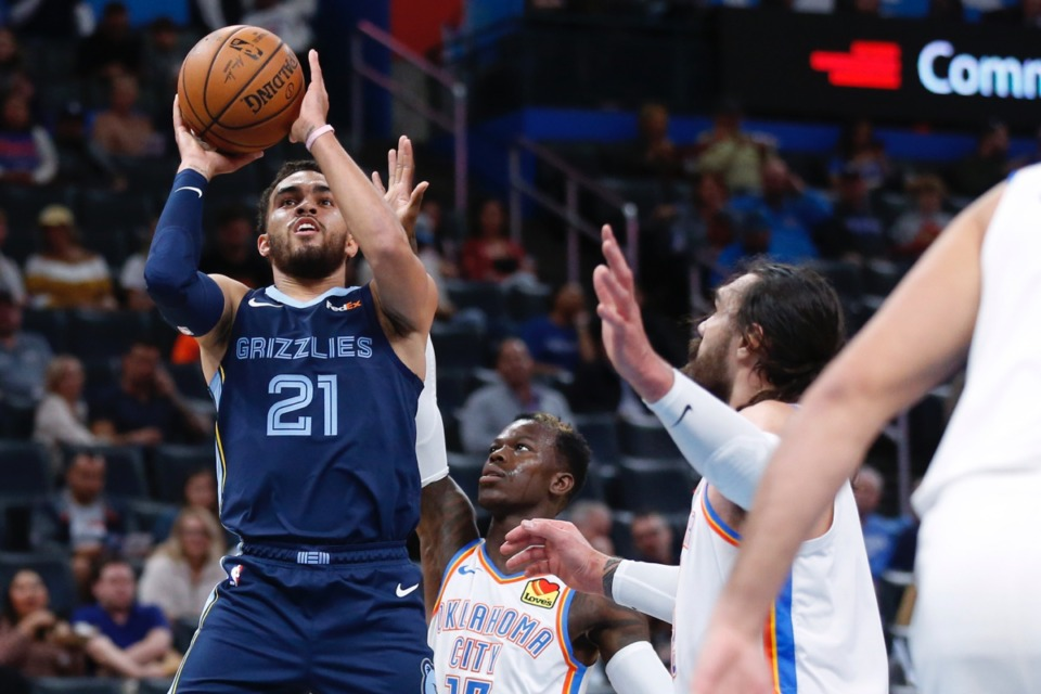 <strong>Grizzlies guard Tyus Jones (21) started in Oklahoma City Oct. 16, delivering 16 points, five rebounds and four assists.</strong> (Sue Ogrocki/AP)