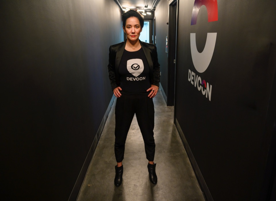 <strong>Maggie Louie, CEO of DEVCON, stands in the company's new space at The University of Memphis' research community on Highland.</strong> (Greg Campbell/ Special to The Daily Memphian)