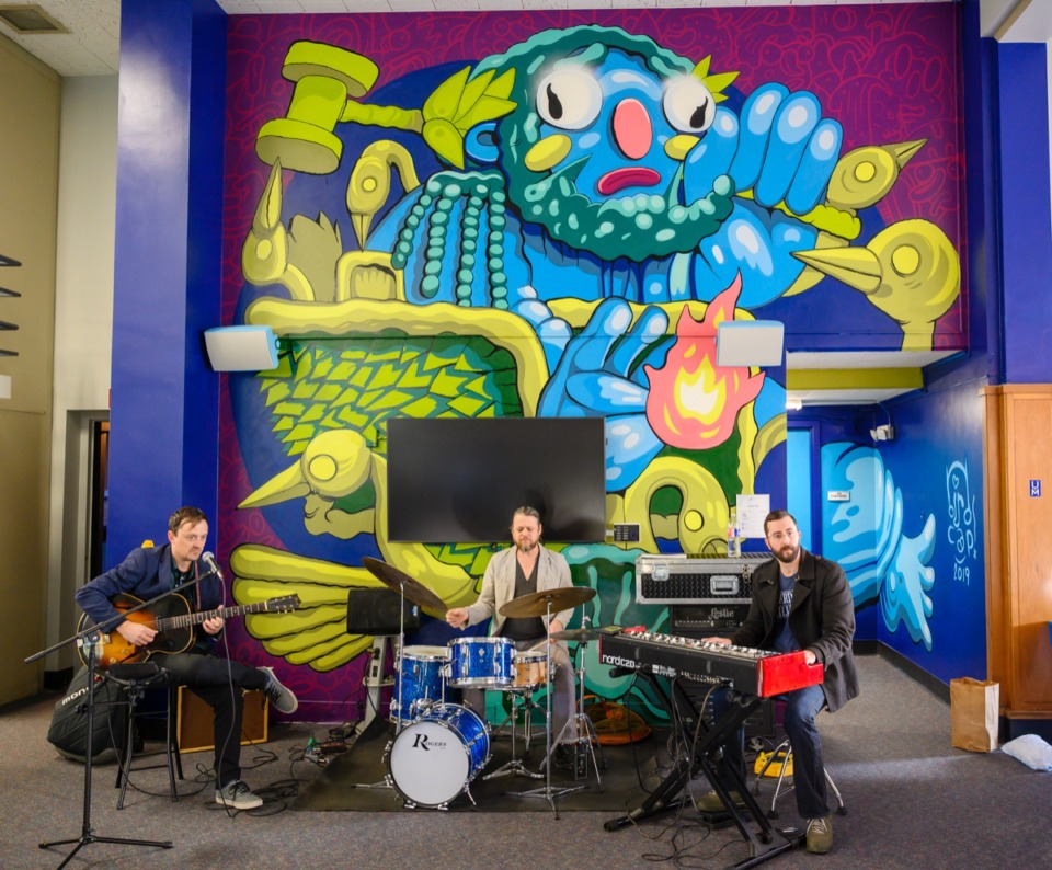 <strong>The Joe Restivo Trio plays at the open house for DEVCON at the University of Memphis' research community Oct. 17.</strong>&nbsp;(Greg Campbell/ Special to The Daily Memphian)