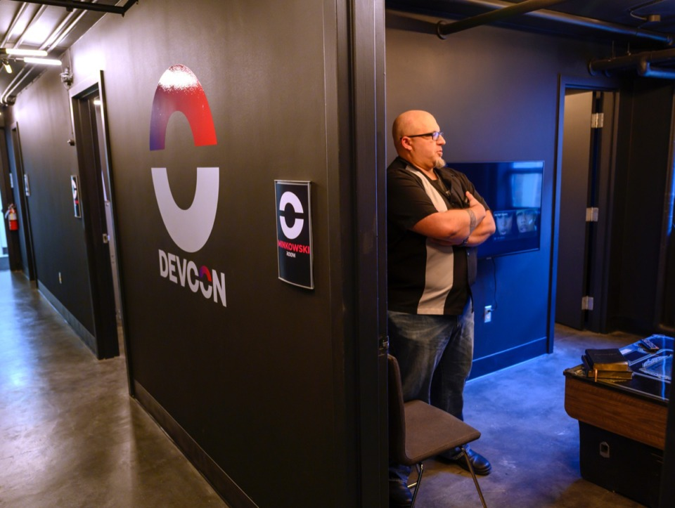 <strong>Chris Stiegemeyer visits the Minkowski room at&nbsp;DEVCON's open house Oct. 17. Every room is named for a famous physicist, and this one is named for the German physicist Hermann Minkowski.</strong> (Greg Campbell/ Special to The Daily Memphian)