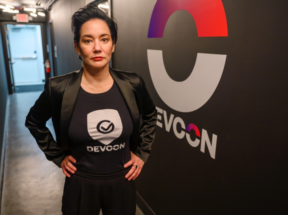 <strong>Maggie Louie, CEO of DEVCON, stands in the company's new space at The University of Memphis' research community on Highland, Thursday, Oct. 17. DEVCON plans to grow to 161 tech security jobs in the Memphis area.</strong> (Greg Campbell/ Special to The Daily Memphian)