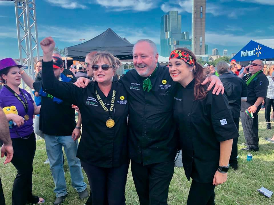<strong>Lisa Gwatney (from left), Russell Gwatney and Ashley Coward are leading the seafood competition at World Food Championships in Dallas.</strong> (Courtesy Lisa Gwatney)