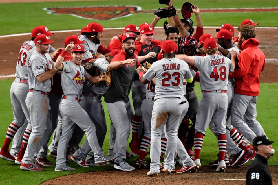 <strong>When the St. Louis Cardinals celebrated winning the NLDS (above, Oct. 9), little did they know it would be the last celebration of the season.</strong> (AP Photo/Danny Karnik)