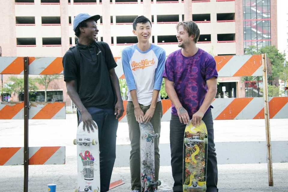 """<strong>Subjects Keire Johnson and Zack Mulligan flank filmmaker Bing Liu, from the documentary """"Minding the Gap.""""</strong> (Courtesy of Indie Memphis)"""