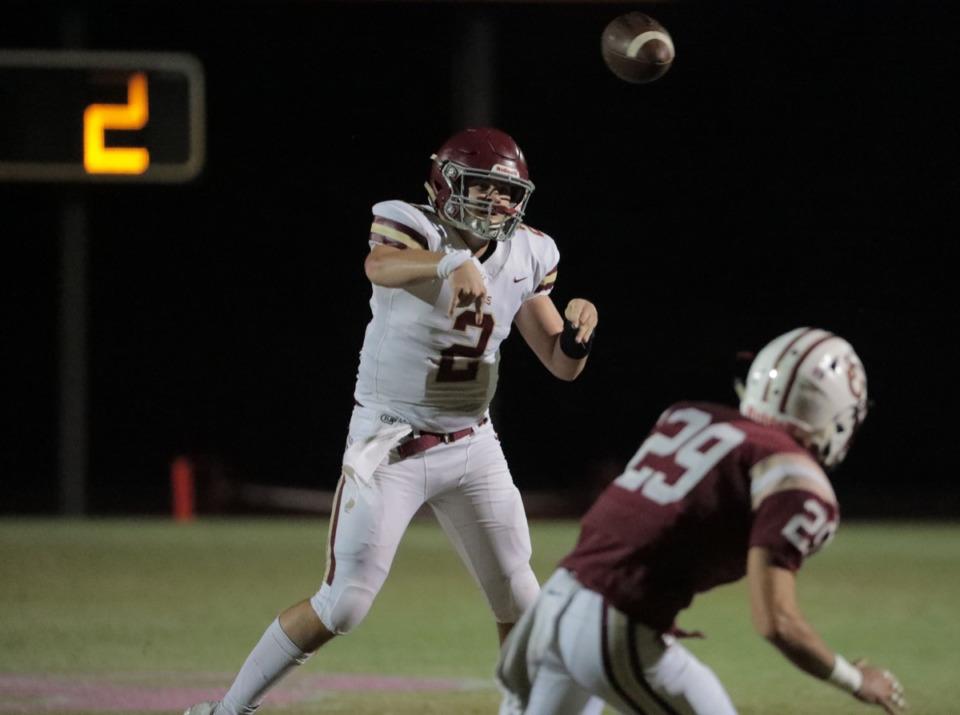 <strong>ECS junior quarterback Jacob Hatcher (2) passes Oct. 18 at St. George's.</strong> (Patrick Lantrip/Daily Memphian)
