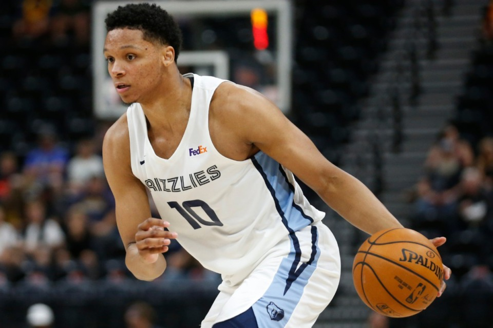 <strong>Memphis Grizzlies forward/center Ivan Rabb brings the ball up during the first half of the team's NBA summer league basketball game against the Cleveland Cavaliers on Wednesday, July 3, 2019, in Salt Lake City.</strong> (Rick Bowmer/AP)