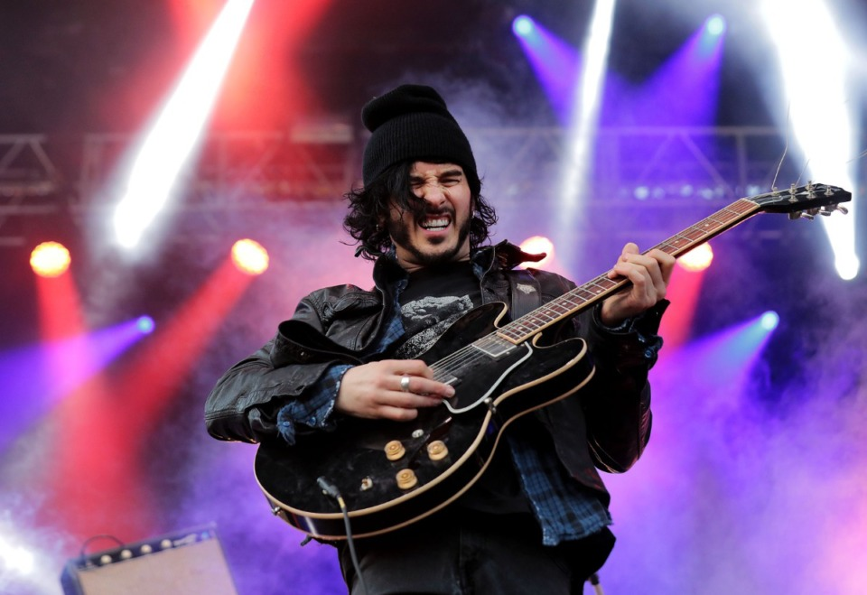 <strong>Reignwolf guitarist and singer Jordan Cook performs at the third annual Mempho Music Festival at Shelby Farms on Oct. 19, 2019.</strong> (Patrick Lantrip/Daily Memphian)