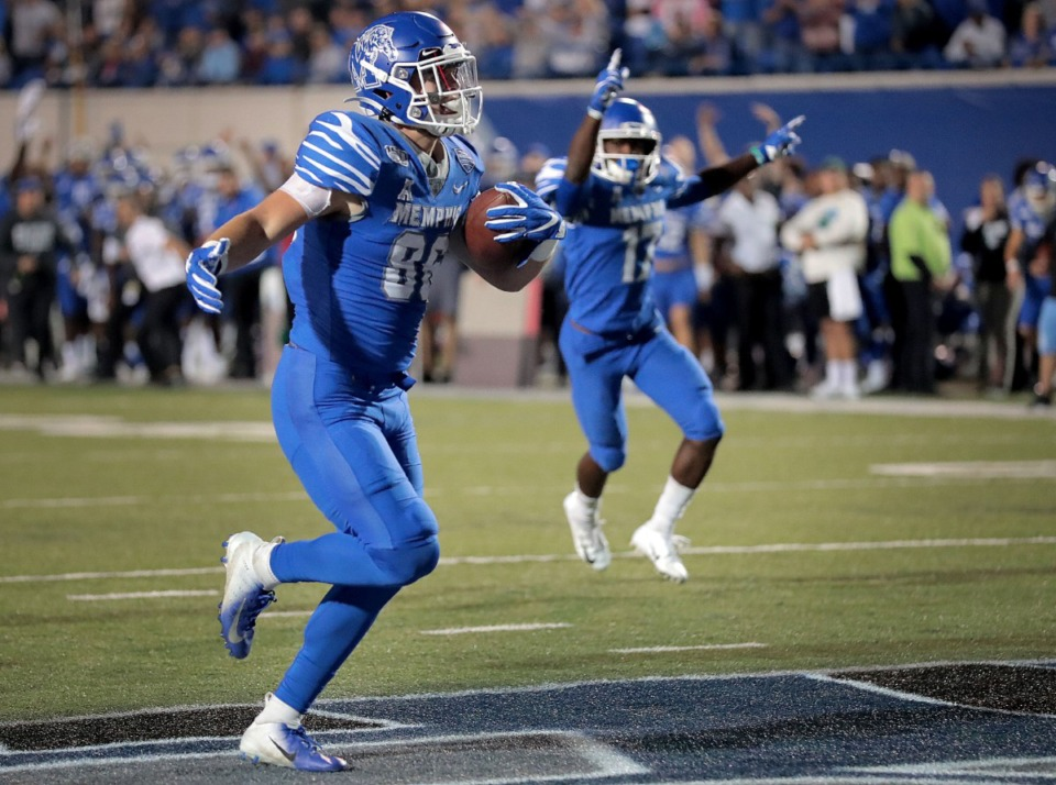 <strong>University of Memphis tight end Joey Magnifico coasts in for a touchdown against Tulane during the Tigers game on Oct. 19, 2019, against the Green Wave at Liberty Bowl Memorial Stadium in Memphis.</strong> (Jim Weber/Daily Memphian)