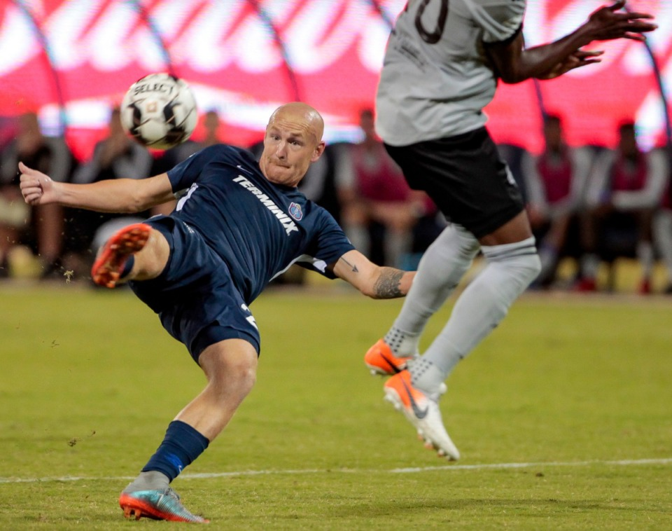 <strong>901 FC's&nbsp;</strong><strong>Jochen Graf attempts a shot on goal in the final minutes of the match against&nbsp;Louisville City FC at AutoZone Park in Memphis' season finale on Oct. 19, 2019.</strong> (Frank Ramirez/Daily Memphian)