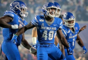 <strong>University of Memphis linebacker Thomas Pickens (40) celebrates after intercepting a Tulane pass during the Tigers game on Oct. 19, 2019, against the Green Wave at Liberty Bowl Memorial Stadium in Memphis.</strong> (Jim Weber/Daily Memphian)
