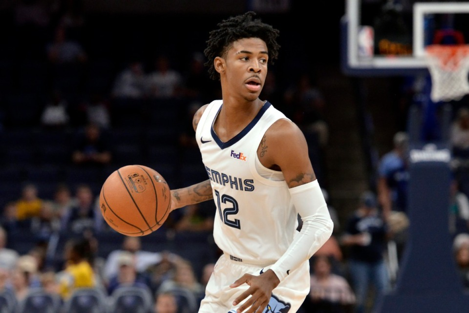 "<strong>At 7.3 assists a game in the preseason, Grizzlies guard Ja Morant (in an Oct. 8 exhibition game against the New Zealand Breakers) trailed only Houston's James Harden and Toronto's Fred&nbsp;<cq author=""Clay Bailey"">VanVleet</cq>, but those vets played more. </strong>(Brandon Dill/AP)"