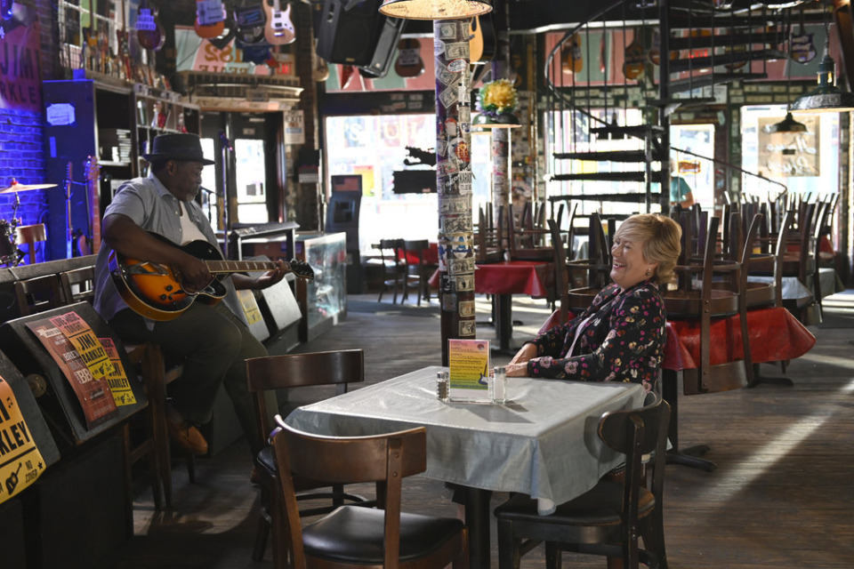 "<strong>Chuck Cooper as Jimi Barkley and Jayne Atkinson as Della Bedford at Beale Street's Rum Boogie Cafe in the fifth episode of ""Bluff City Law.""</strong> (Katherine Bomboy/NBC)"