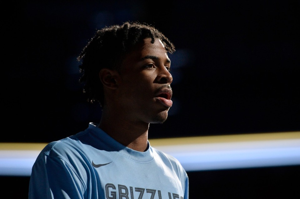 <strong>Memphis Grizzlies guard Ja Morant stands on the court during player introductions before an exhibition NBA basketball game against Maccabi Haifa Oct. 6.</strong> (Brandon Dill/AP)