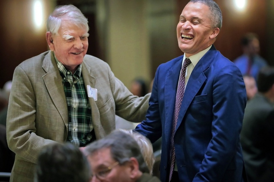 <strong>Former Congressman Harold Ford Jr. jokes with B. Lee Mallory (left) before addressing the Memphis Rotary Club in Memphis on Tuesday, Oct. 22.</strong> (Jim Weber/Daily Memphian)