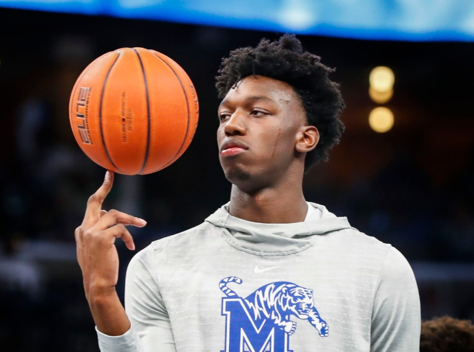 <strong>Tiger James Wiseman spins the ball on his finger during Memphis Madness at the FedExForum Oct. 3.</strong> (Mark Weber/Daily Memphian)