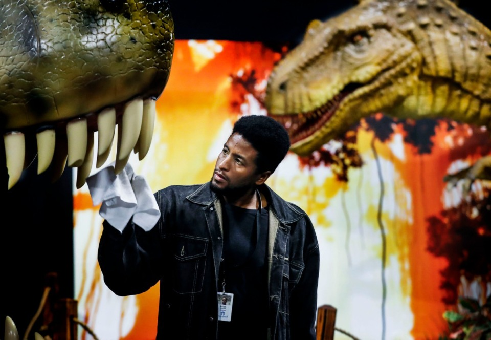 <strong>Brian Johnson cleans the teeth of a Tyrannosaurus Rex, as an Albertosaurus model gazes down on him in preparation for the &ldquo;Expedition: Dinosaur&rdquo; at the Graceland Exhibition Center. The exhibit opens Friday, Oct. 25.</strong> (Mark Weber/Daily Memphian)