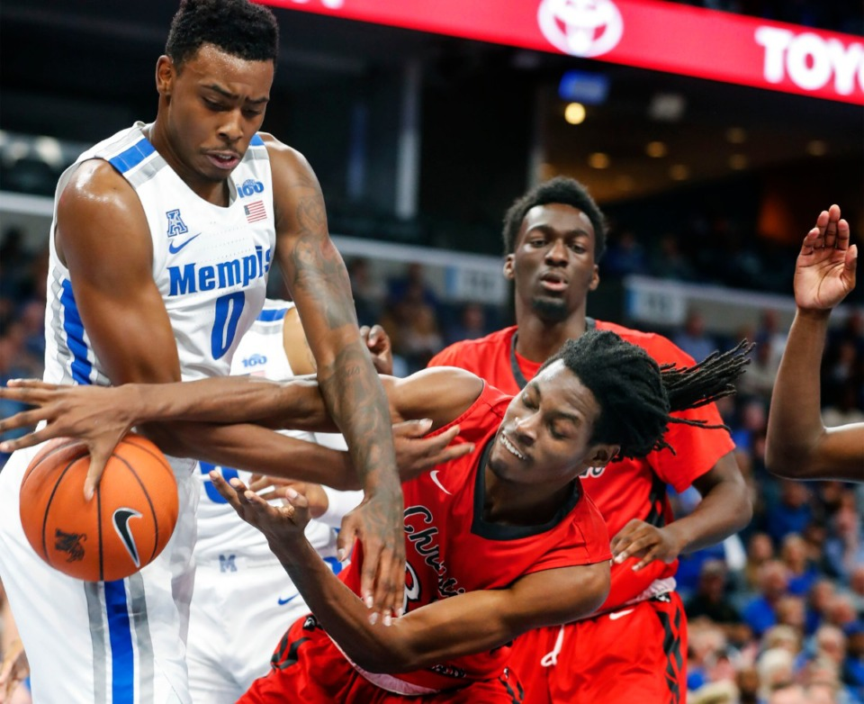 <strong>D.J. Jeffries (left) battles CBU forward Joshua Jackson for a loose ball Oct. 24.</strong> (Mark Weber/Daily Memphian)