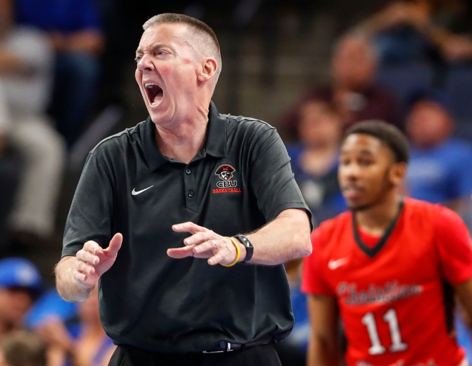 <strong>CBU head coach John T. Reilly reacts to action on the floor Oct.24 as his players battle the Tigers.</strong> (Mark Weber/Daily Memphian)