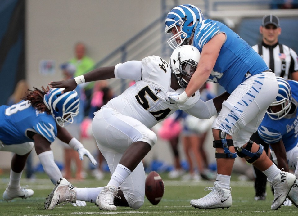 <strong>Tigers offensive lineman Dustin Woodard (53) faces off against UCF's AJ Wooten (54) during the Oct. 13, 2018, game at Liberty Bowl Memorial Stadium in Memphis. Woodard has developed a family-like relationship with offensive line coach Ryan Silverfield.</strong> (Jim Weber/Daily Memphian)