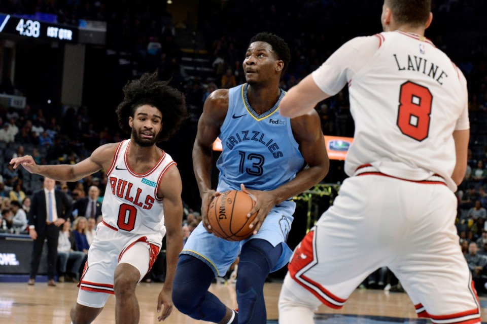 <strong>Grizzlies forward Jaren Jackson Jr. (13) looks to shoot between Chicago Bulls guards Coby White (0) and Zach LaVine (8) Oct. 25.</strong> (Brandon Dill/AP)