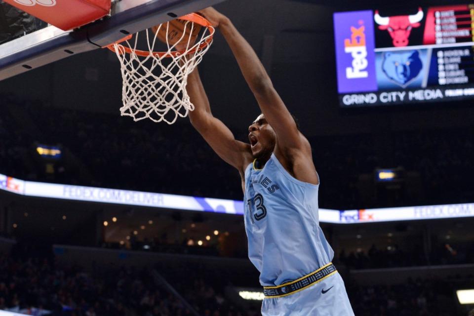 <strong>Memphis Grizzlies forward Jaren Jackson Jr. (13) dunks against the Chicago Bulls Oct. 25.</strong> (Brandon Dill/AP)