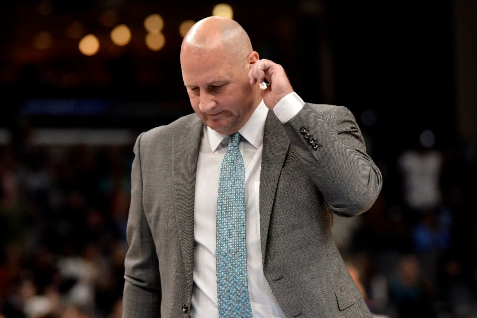 <strong>Chicago coach Jim Boylen stands deep in thought Oct. 25 while his Bulls play the Grizzlies Oct. 25.</strong> (Brandon Dill/AP)