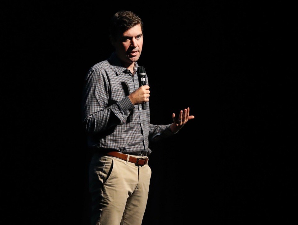 <strong>Washington Post reporter and Pulitzer Prize winning journalist Eli Saslow speaks to high school students about race in America at the Orpheum Oct. 28.</strong> (Mark Weber/Daily Memphian)