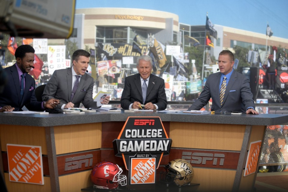 <strong>ESPN College GameDay hosts&nbsp;Desmond Howard (from left), Rece Davis, Lee Corso and Kirk Herbstreit will be on hand when the pregame show hits Memphis.</strong> (Phelan M. Ebenhack/Associated Press file)