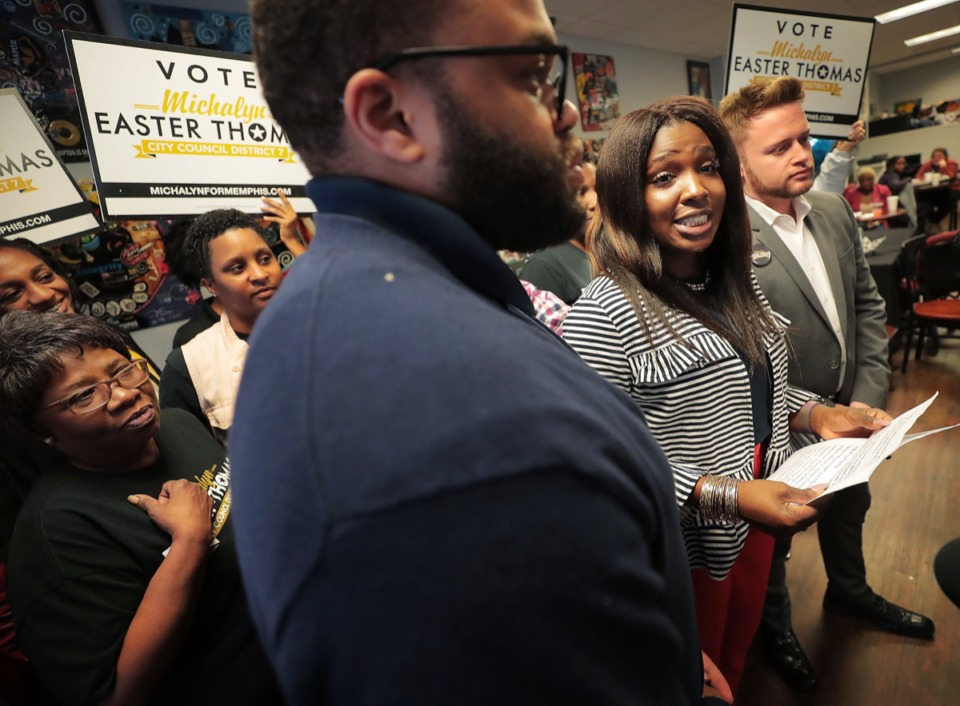 <strong>Flanked by some of the other original City Council District 7 candidates, Michalyn Easter-Thomas (second from right) talks to the press about the district 7 runoff election that began on Oct. 25 with early voting.</strong> (Jim Weber/Daily Memphian)