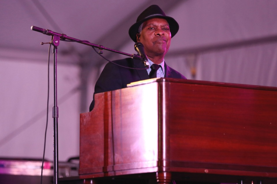 <strong>Booker T. Jones performs in the Orion Blues Tent at the 2017 Beale Street Music Festival May 7, 2017.</strong> (Laura Roberts/Invision/AP)