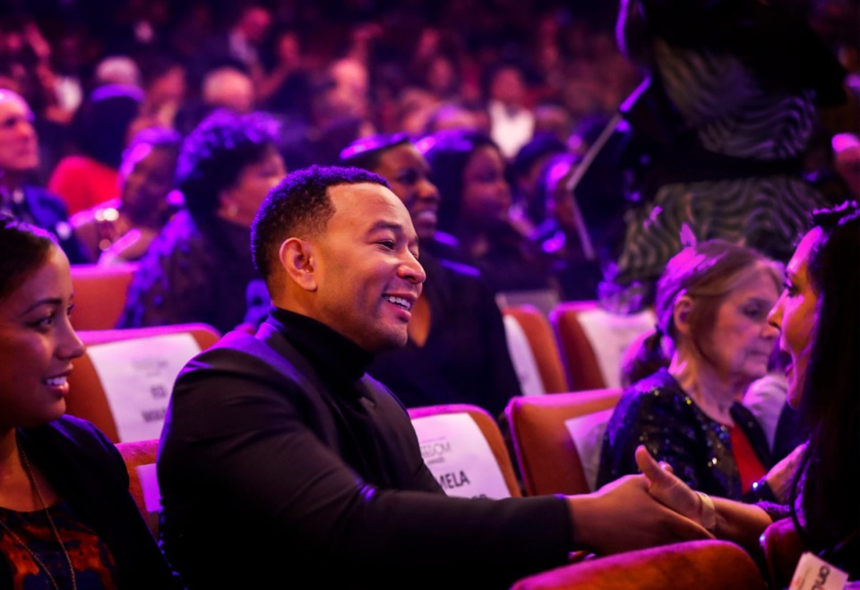 <strong>Honoree John Legend greets a fan during the 2019 National Civil Rights Museum Freedom Awards at the Orpheum Oct. 30.</strong> (Mark Weber/Daily Memphian)