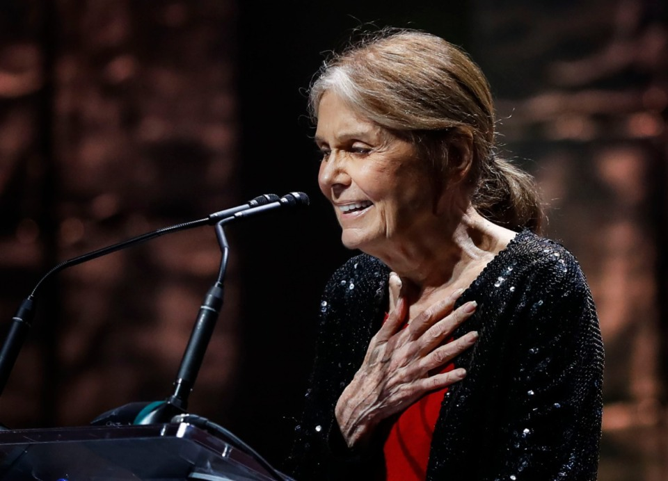 <strong>Honoree Gloria Steinem greets the crowd during the 2019 National Civil Rights Museum Freedom Awards at the Orpheum Oct. 30.</strong> (Mark Weber/Daily Memphian)