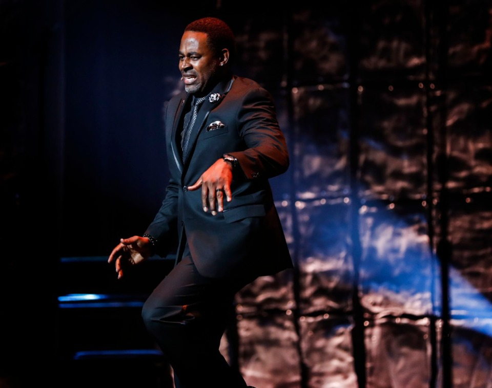<strong>2019 National Civil Rights Museum Freedom Awards host Lamman Rucker mimics the moves of Lil Buck, while emceeing at the Orpheum Oct. 30.</strong> (Mark Weber/Daily Memphian)