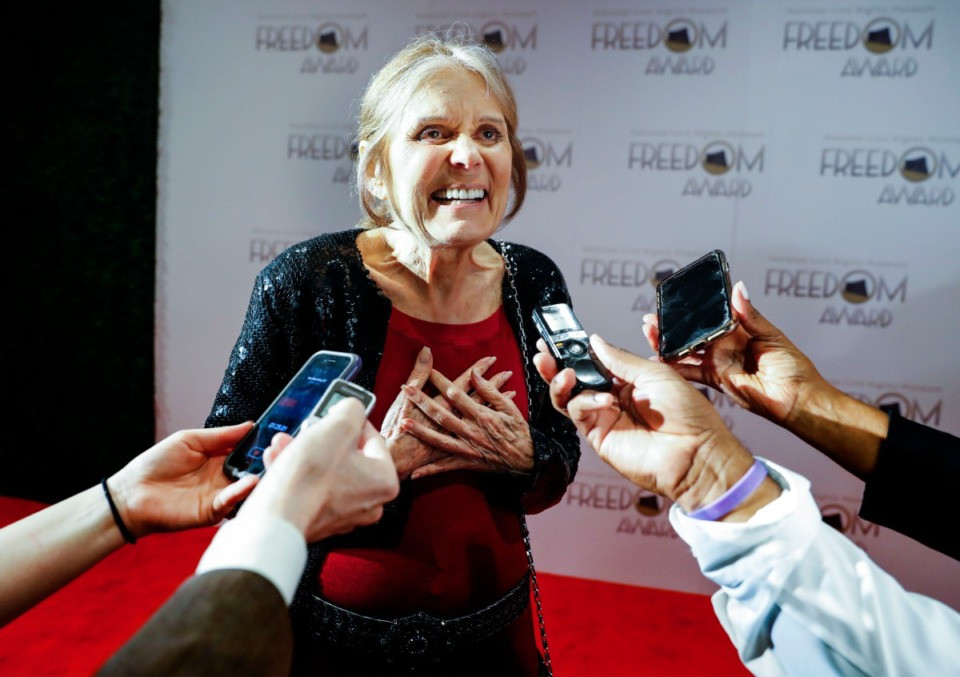 <strong>Honoree Gloria Steinem talks with a reporter while walking the red carpet during the 2019 National Civil Rights Museum Freedom Awards at the Orpheum Oct. 30.</strong> (Mark Weber/Daily Memphian)