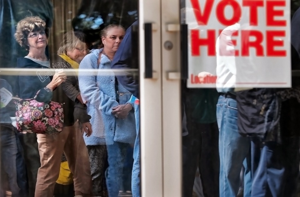 <strong>Memphians line up outside the Agricenter on the first day of early voting Oct. 17 in the last election.</strong> (Jim Weber/Daily Memphian)